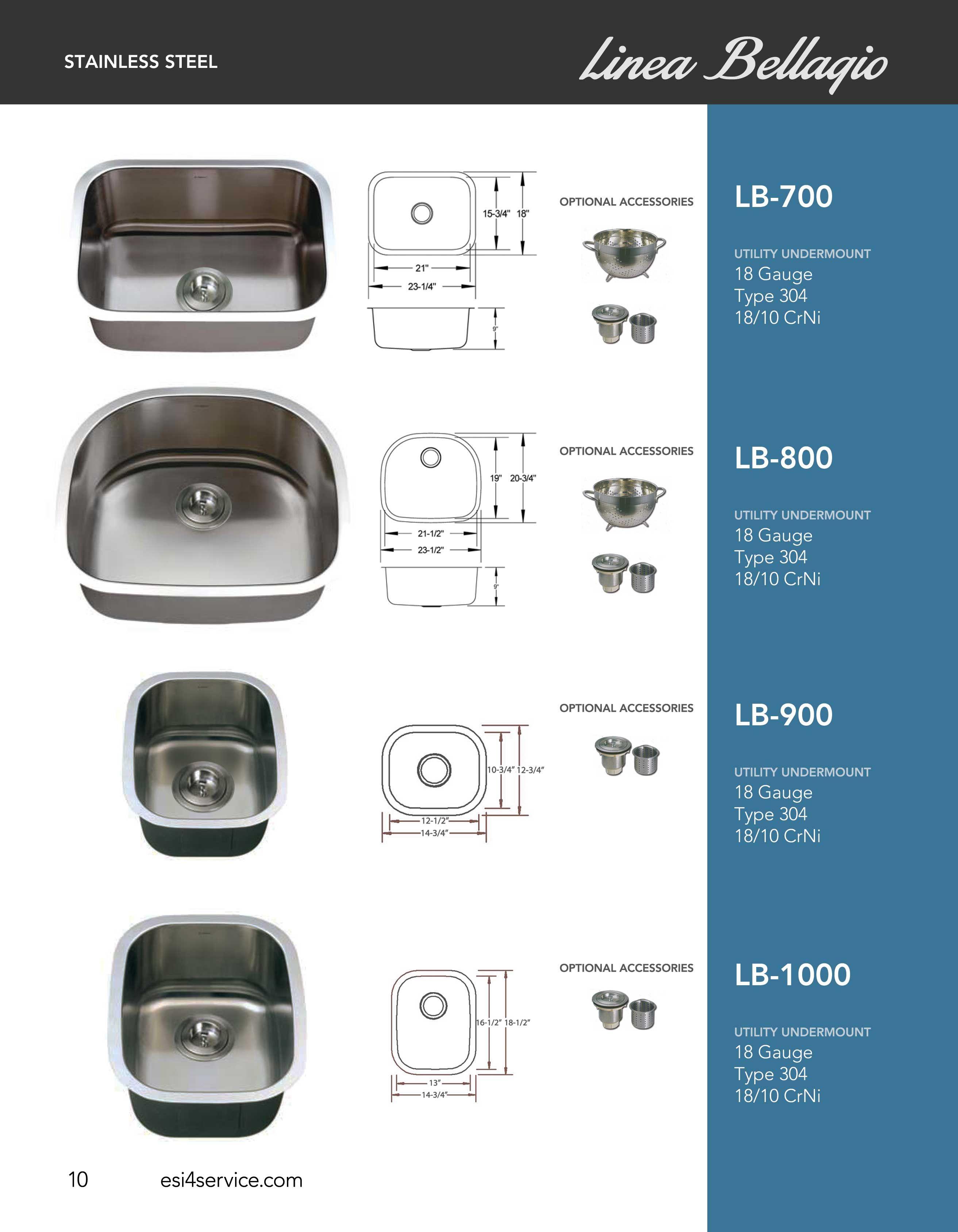 ESI SharpSinks Catalog Pg 10 Stainless Steel Sinks