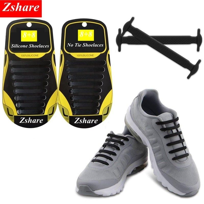 1Pair Stretching Locking No Tie Lazy Shoe Laces Sneaker Elastic Rubber Shoe Lace