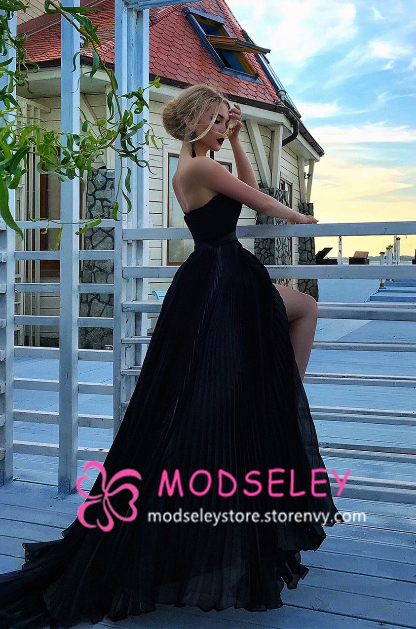 Sweetheart black long ball gown prom dresses black long prom
