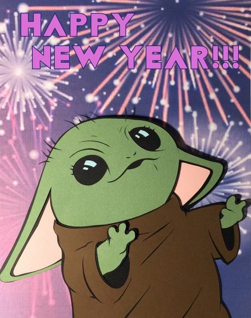 Happy New Year From Baby Yoda Happy New Year Baby Yoda Drawing Happy New