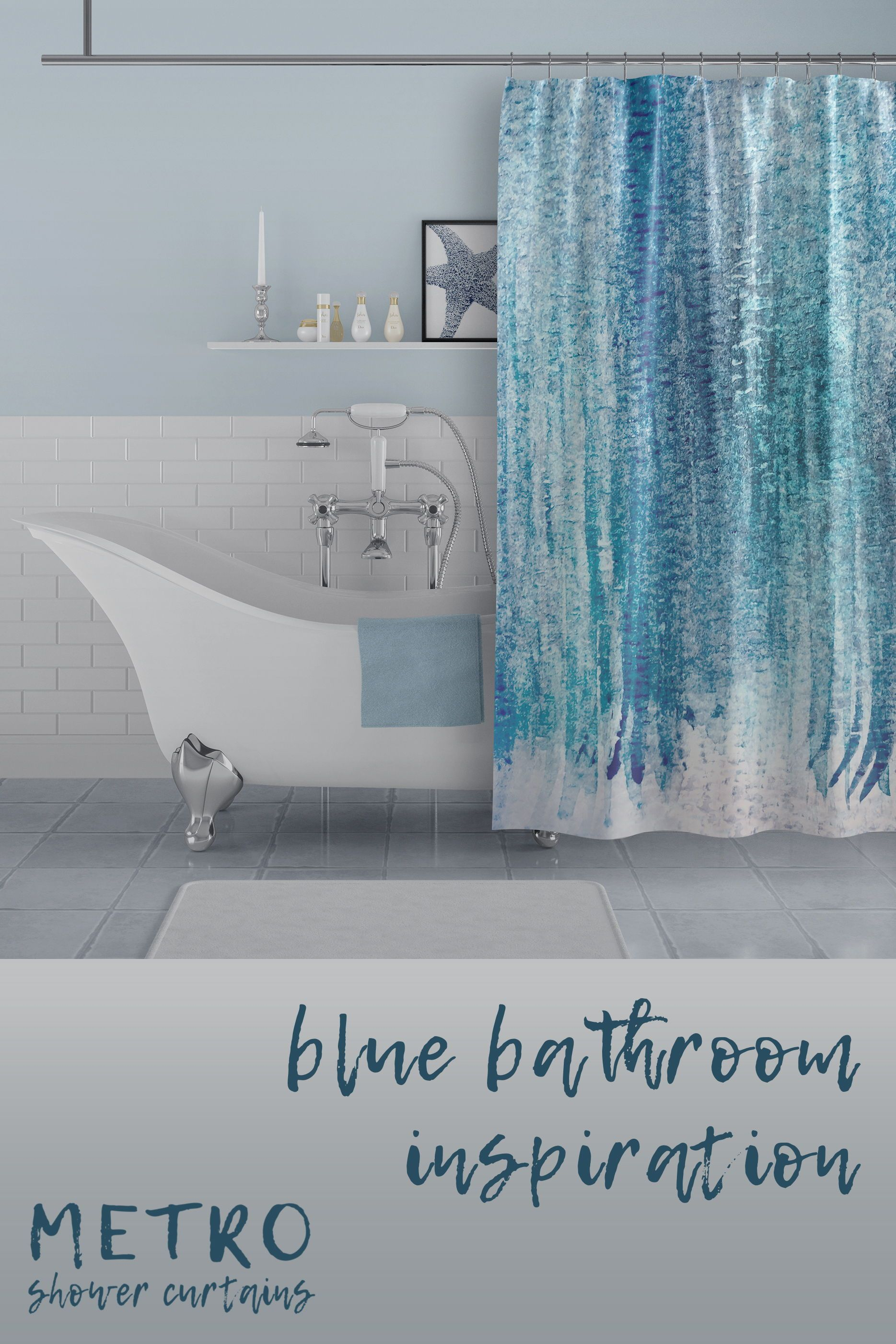 Aqua Blue Watercolor Stripes Shower Curtain Bathroom Shower