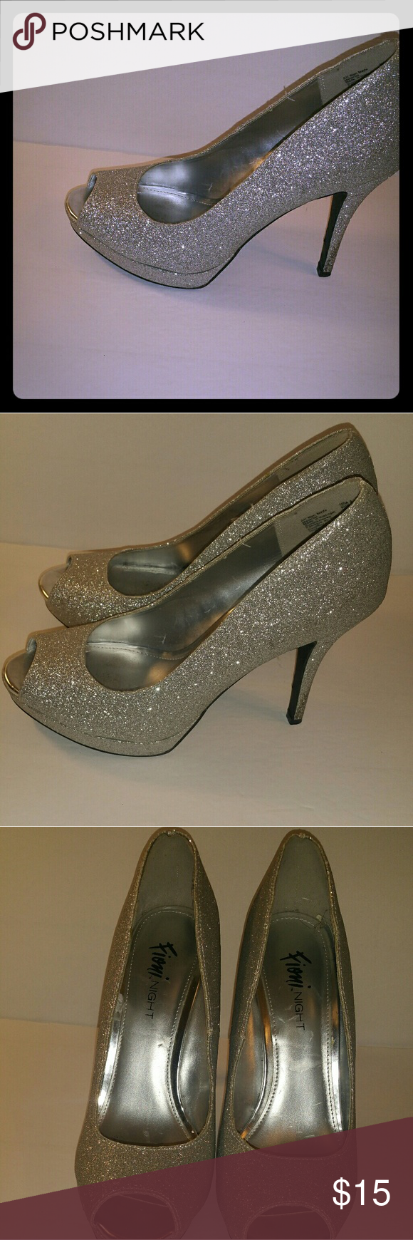 90fdf5e5502 Fioni night shoes Fioni night shoes sparkly silver dress heels open ...