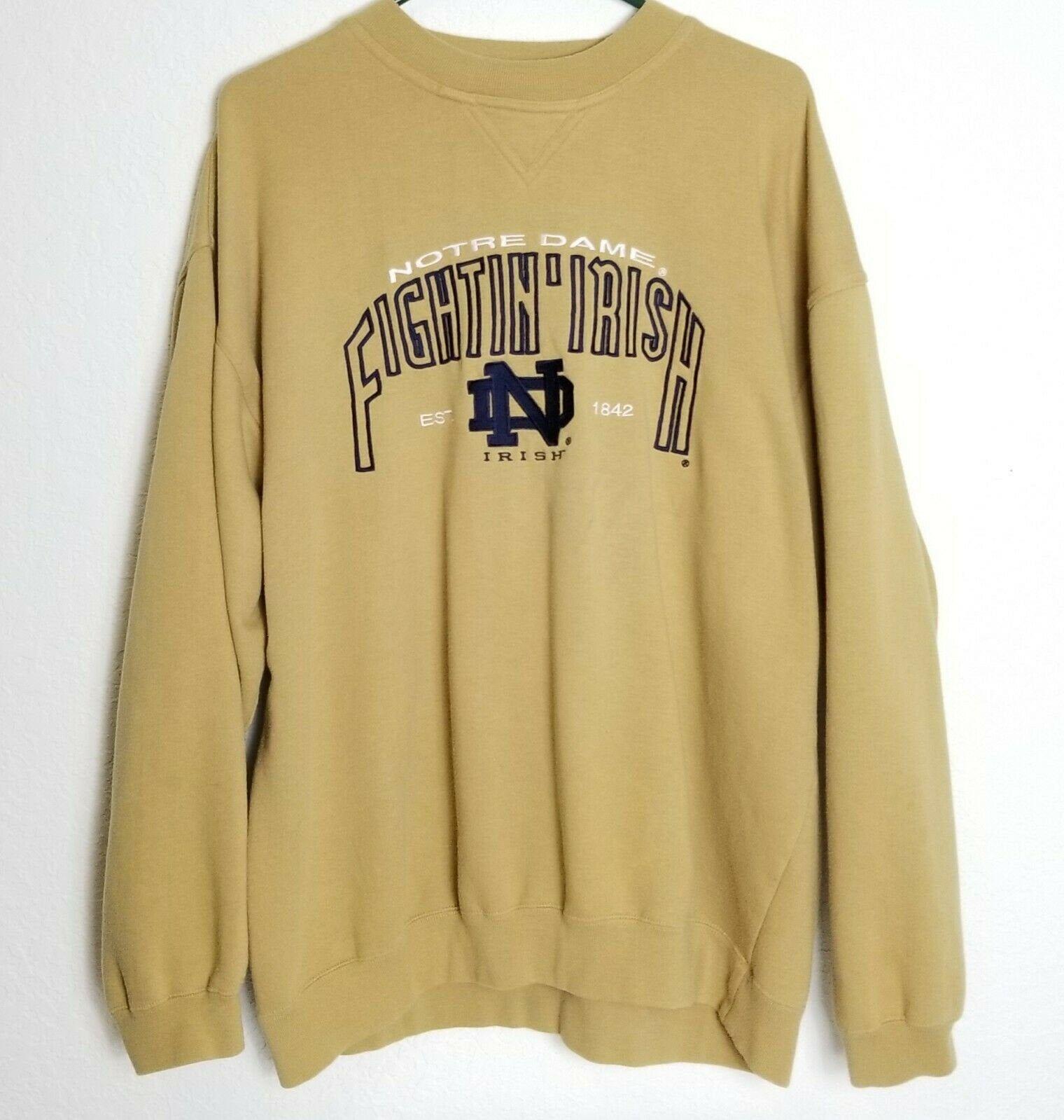 Vintage Notre Dame Fightin Irish Embroidered Sweatshirt Xl Gold Nutmeg Mills By Myvintagewalk On Etsy Embroidered Sweatshirts Sweatshirts Notre Dame Sweatshirt [ 1599 x 1520 Pixel ]