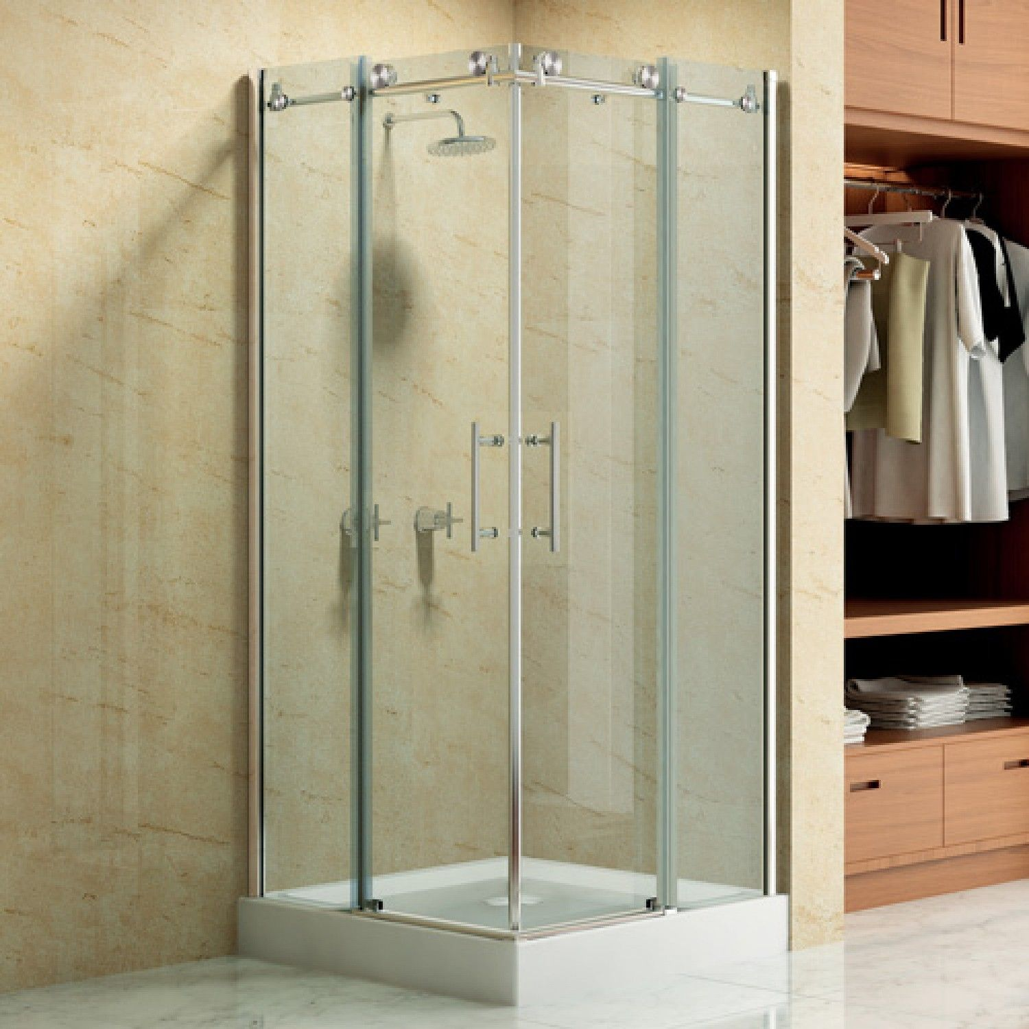 36 X 36 Square Frameless Corner Shower Enclosure With Dual