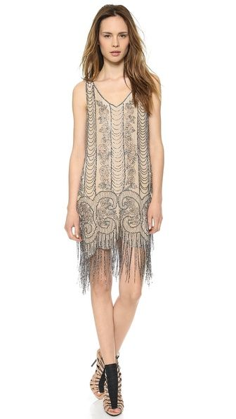 30a89ad9 Beaded Great Gatsby Flapper Dress - Embellished Fringe Dress - Buff/Antique  Silver @vintagedancer