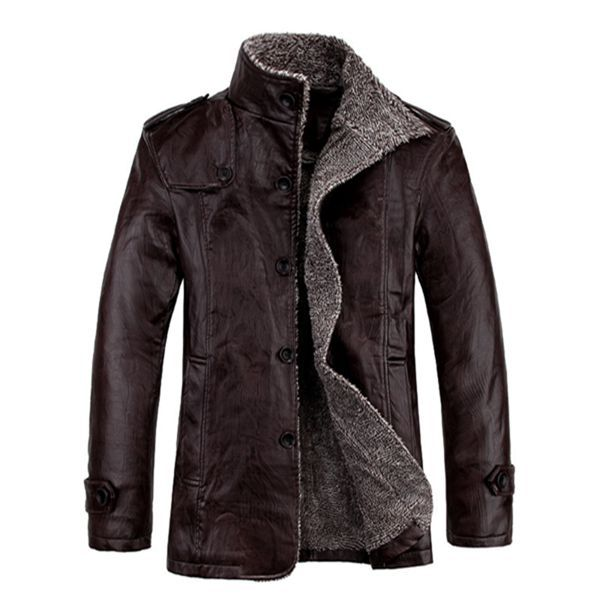 b98a12a9f322 Men s Quality PU Leather Slim Fit Plush Thickened Warm Jacket at Banggood