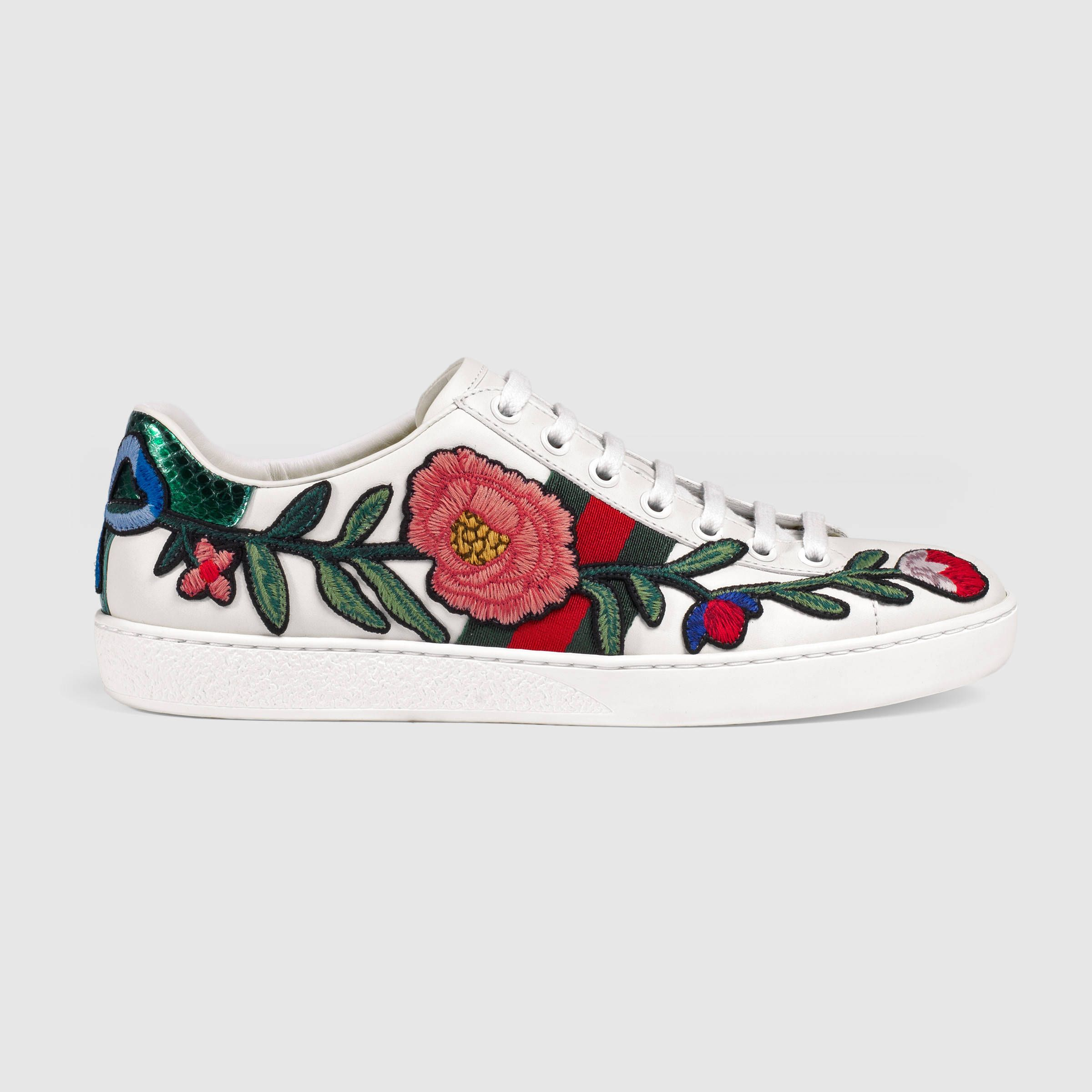 Gorgeous Gucci Embroidered Sneakers Sneakers Fashion Floral Sneakers Floral Shoes