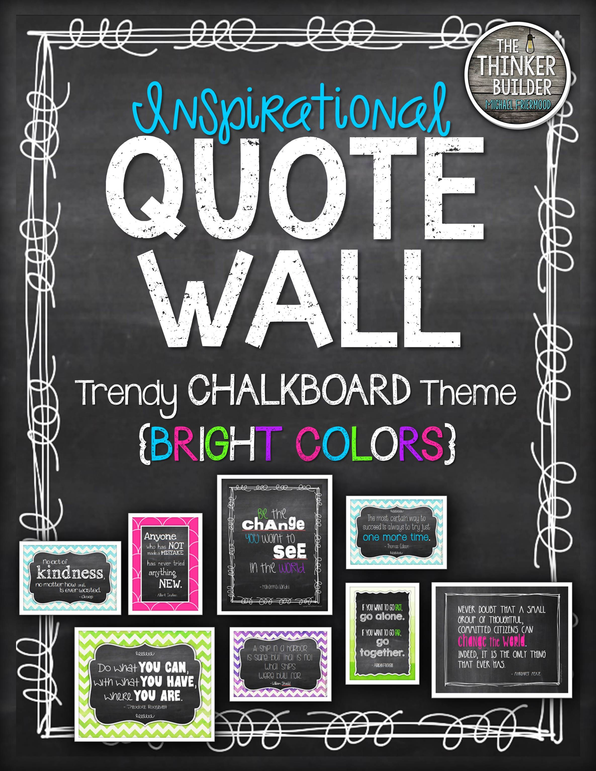 inspirational quote wall trendy chalkboard theme bright colors