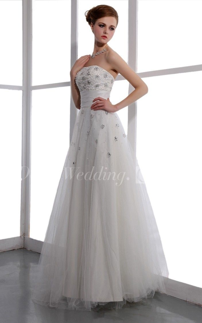 Strapless aline long wedding reception dress with floral