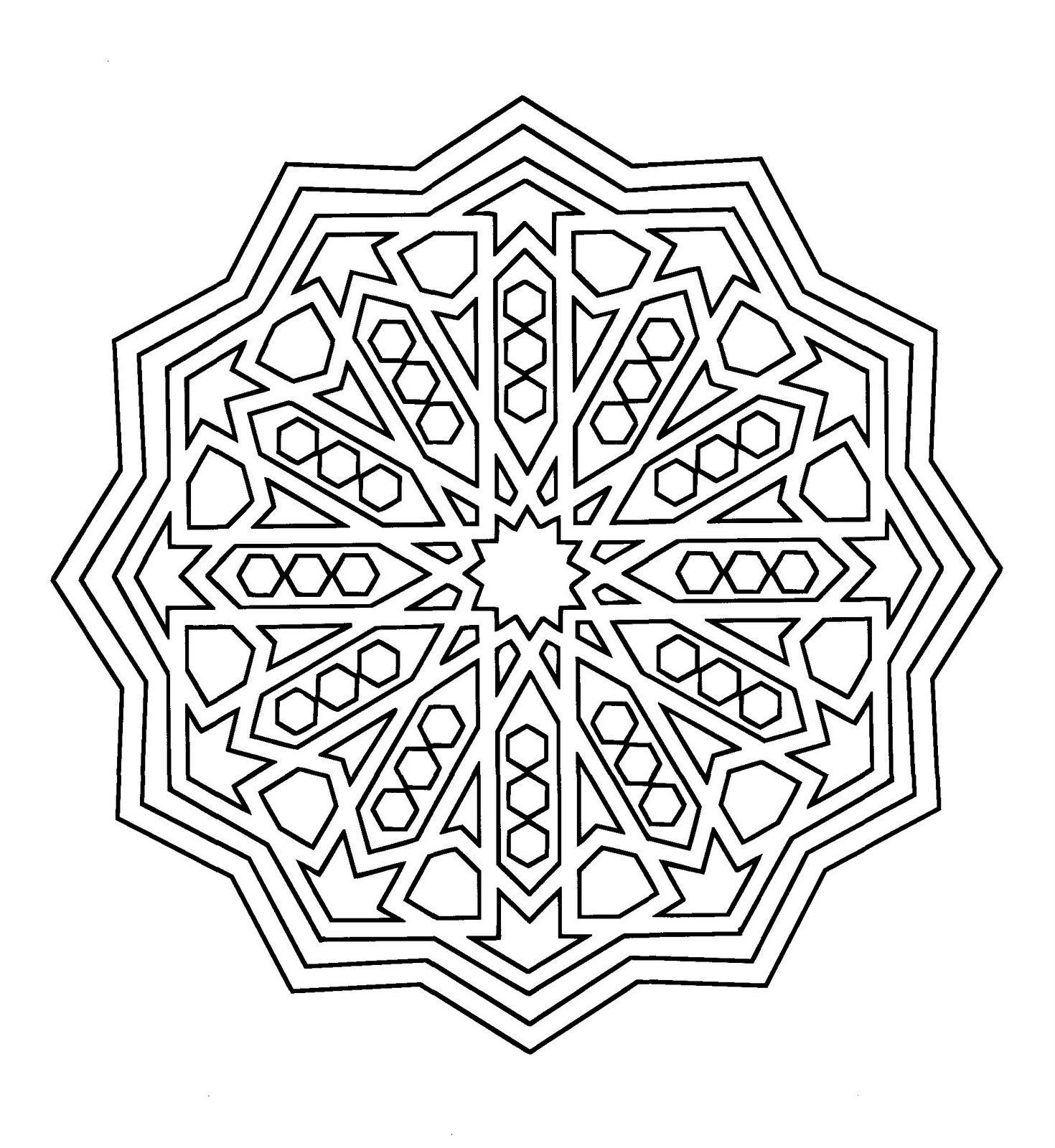 Mandala de la Alhambra para colorear con ejemplo | Dibujos