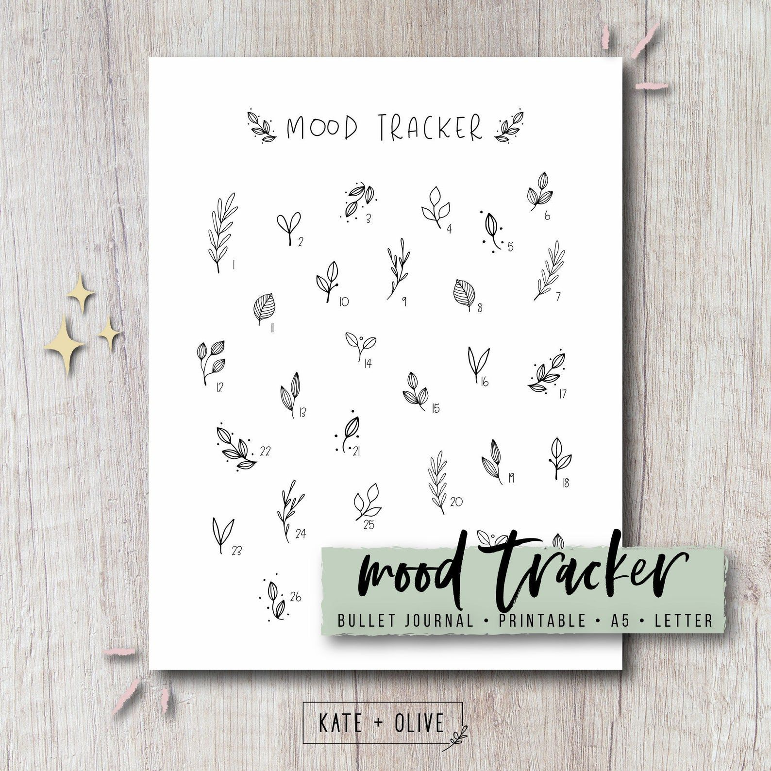 Mood Tracker Printable Insert for Bullet Journal & Planner  | Etsy