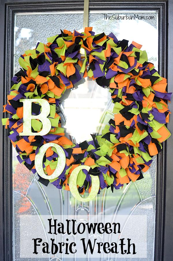 Halloween Pumpkin and Spider Rag Wreath #W014