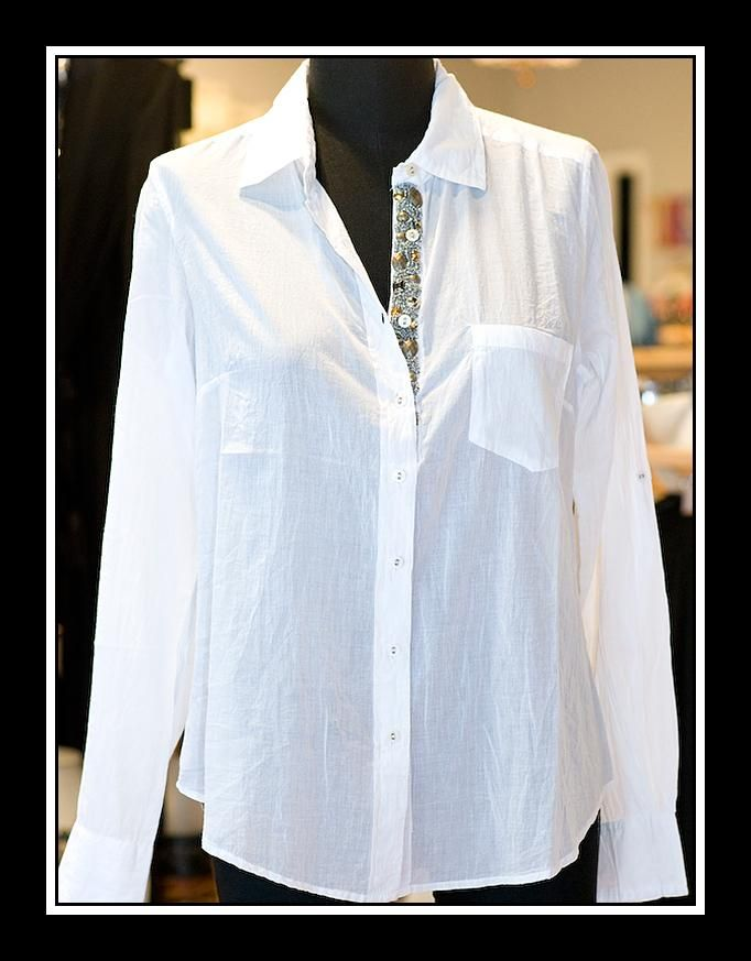 Cino White Button Down With Beaded Trim