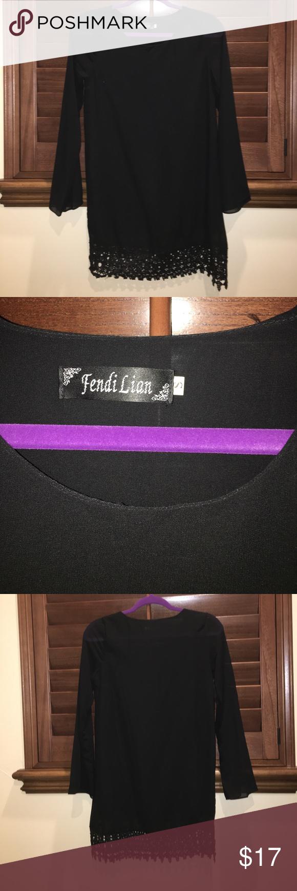 Short black dress long sleeve with lace on bottom black dress long
