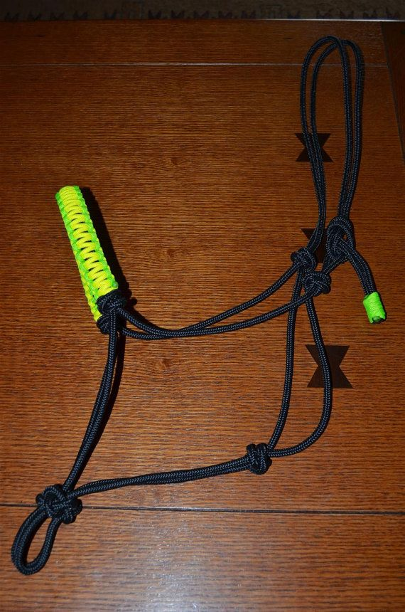 1 4 Premium Rope Halter With Braided Paracord Noseband Etsy In 2020 Rope Halter Horse Tack Diy Horse Halter