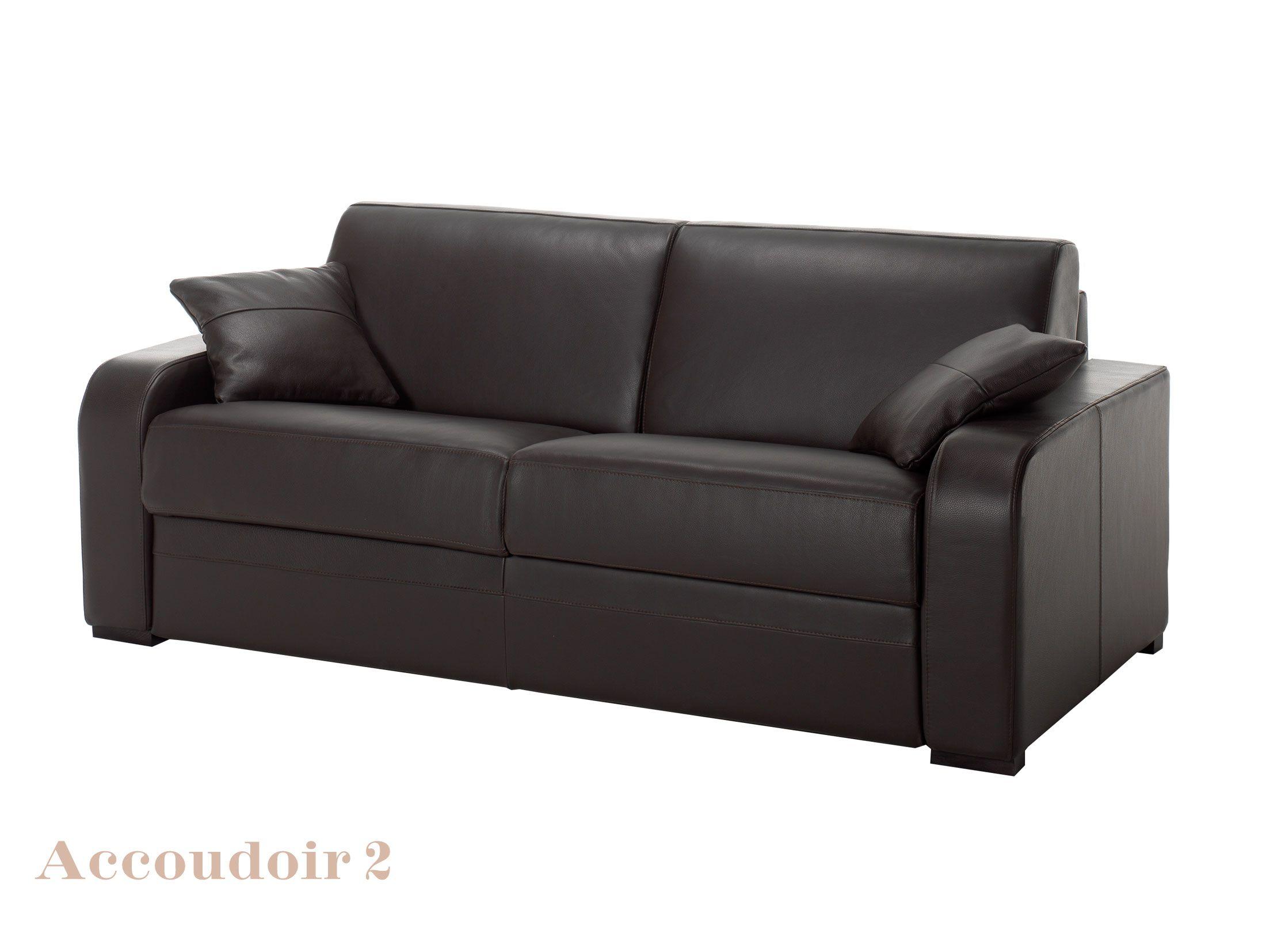 Canapé Cuir Noir Convertible Modèle Ischia CanapeplaceScom - Salon cuir noir