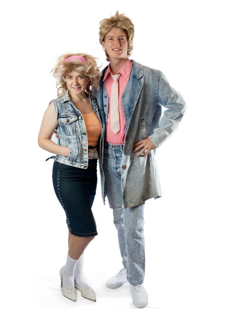 Denim 80 S Couple Blonde Halloween Costumes Halloween Costume Videos Funny Couple Costumes