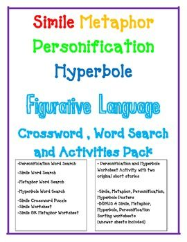 FIGURATIVE LANGUAGE Simile Metaphor Personification Hyperbole ...