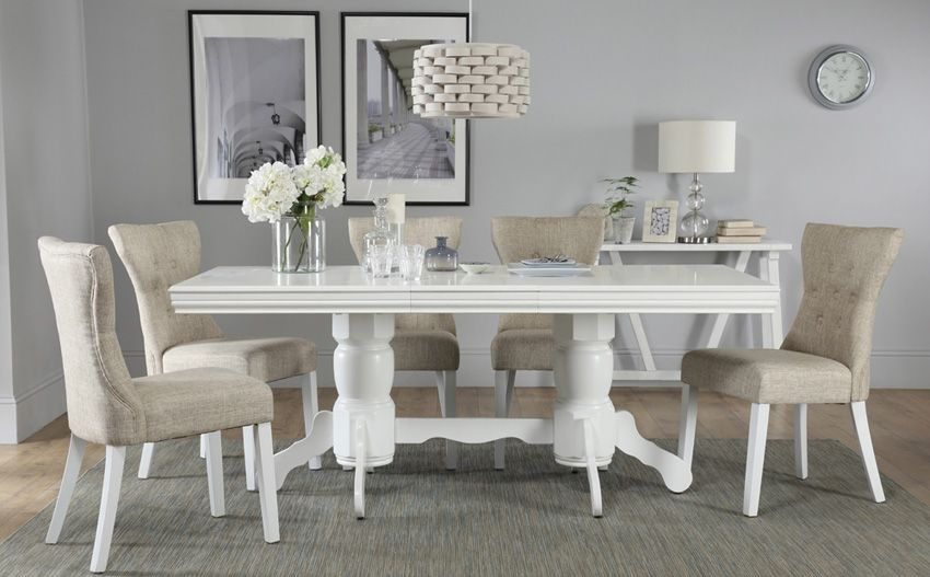 89d7f9bcf7 Chatsworth White Extending Dining Table - with 6 Bewley Oatmeal ...