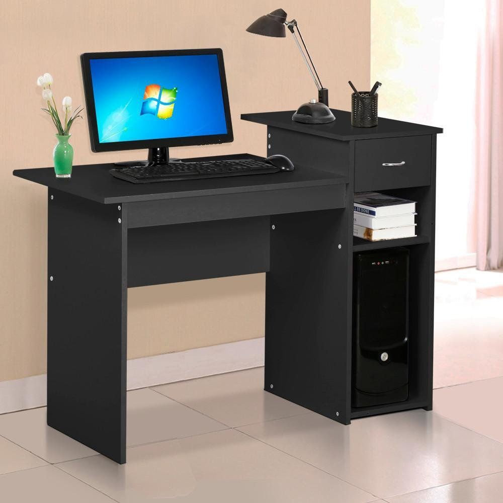 Topeakmart black compact computer desk with drawer and shelf small