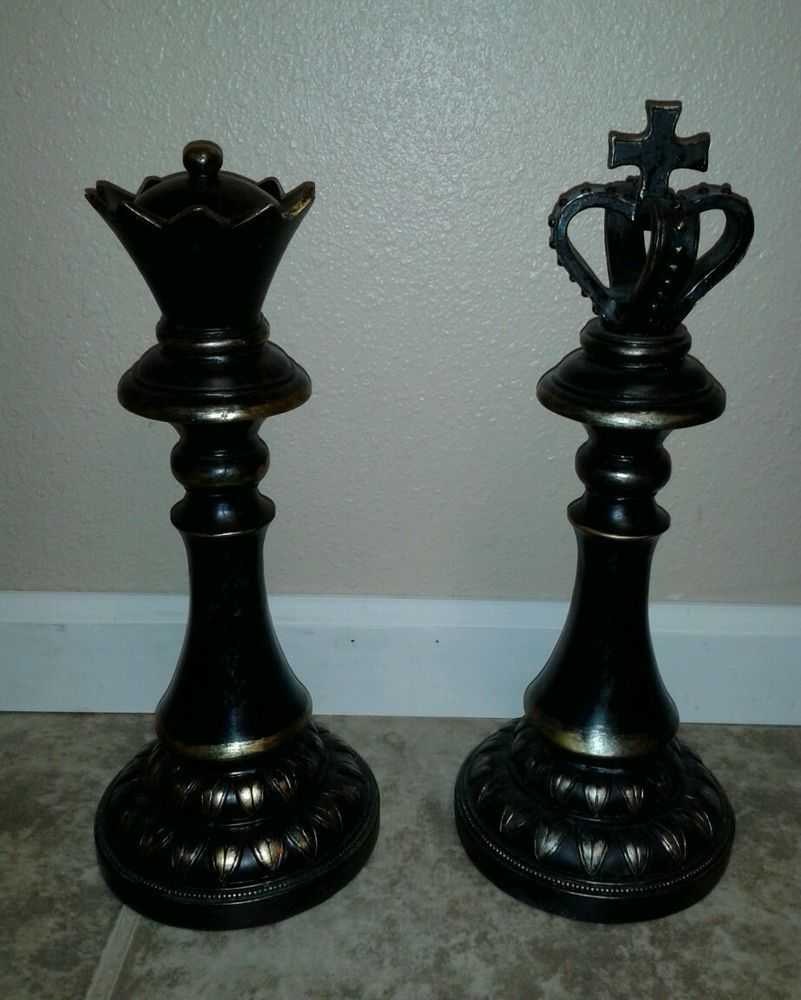 Large 15 King Queen Chess Piece Set New Distressed Modern Home