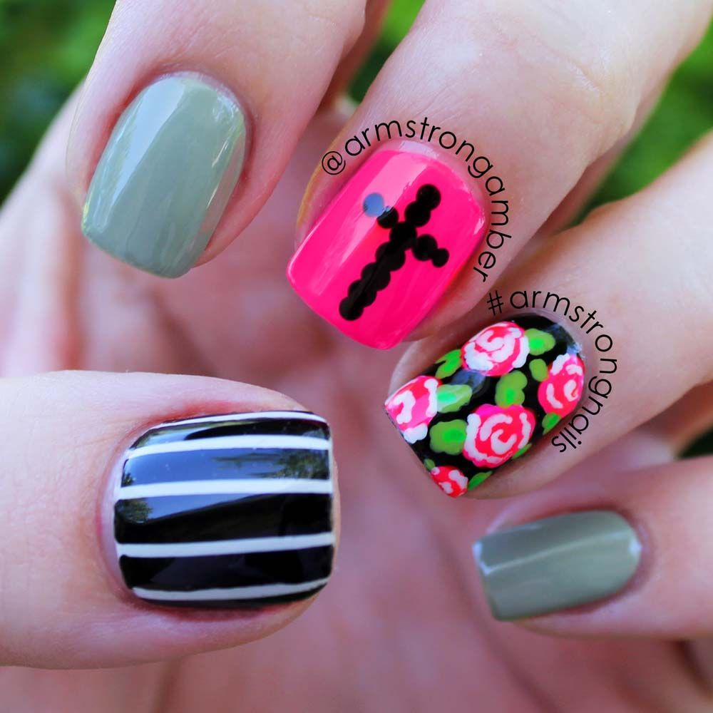 Nail Art Ideas edgy nail art : edgy rose and cross nail art - by Amber Armstrong -- Instagram ...