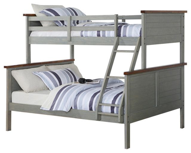 Best Washed Denim Twin Over Full Bunk Bed Solid Wood Full 640 x 480