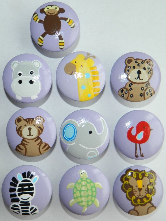Girls Jungle Animal Drawer Knobs - these are hand painted and can be ...