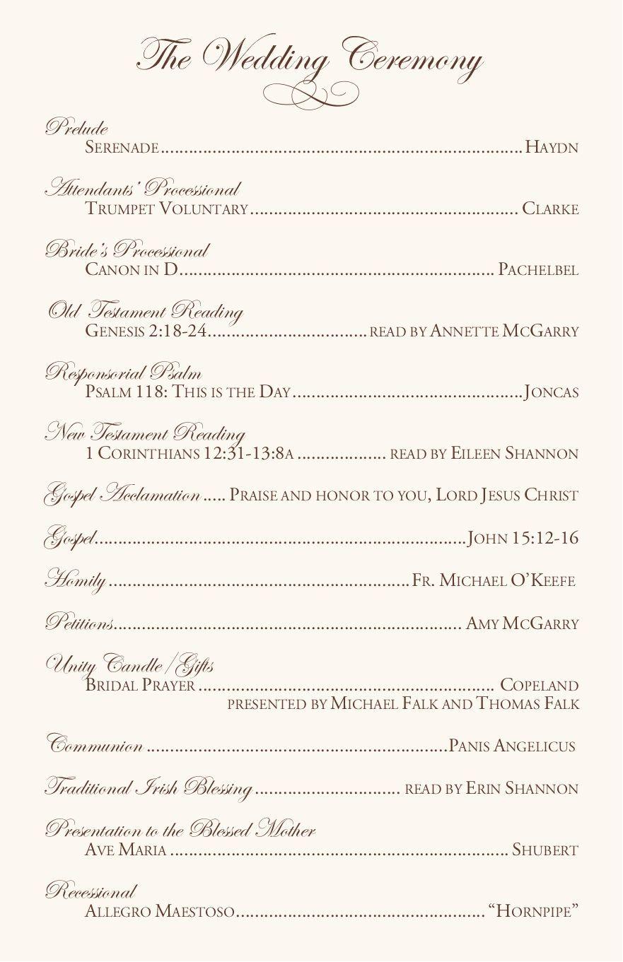 Catholic wedding program template (with. Catholic