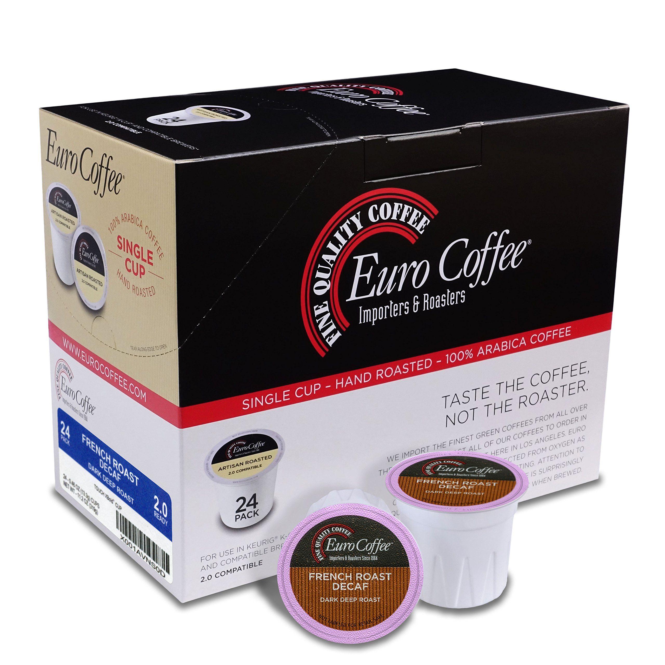 Euro Coffee 24 Count Single-Serve K-Cup Keurig Compatible. Award Winning Artisan Coffee Roaster (French Roast Decaf)