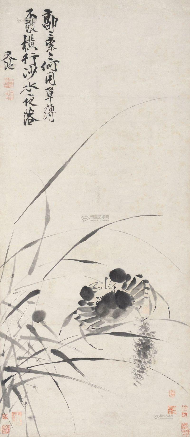明 - 徐渭 (Xu Wei,1521-1593) - 蟹        立軸,纸本,89×39cm。    款識:「郭索郭索,還用草缚。不敢横行,沙水夜落。天池。」钤印:青藤道人 (白)  文長 (朱)   Ming Dynasty
