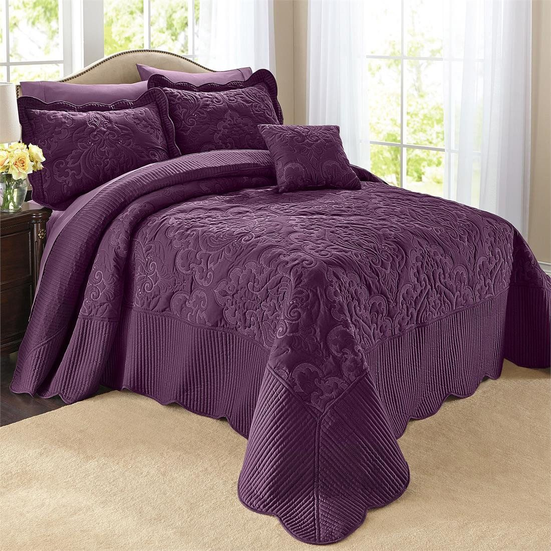 Amazoncom  Brylanehome Amelia Bedspread Taupe King   Home Plum etc  Bed spreads