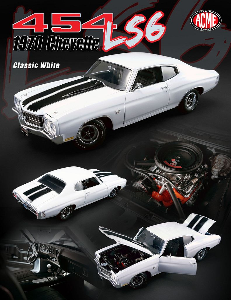 4f320abe8 1970 Chevrolet Chevelle SS 454 LS6 Classic White with Black Stripes Limited  Edition to 618pcs 1/18