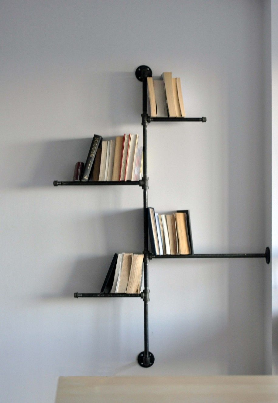 Home Accessories Astonishing Black Pipe Wall Mount Bookshelves