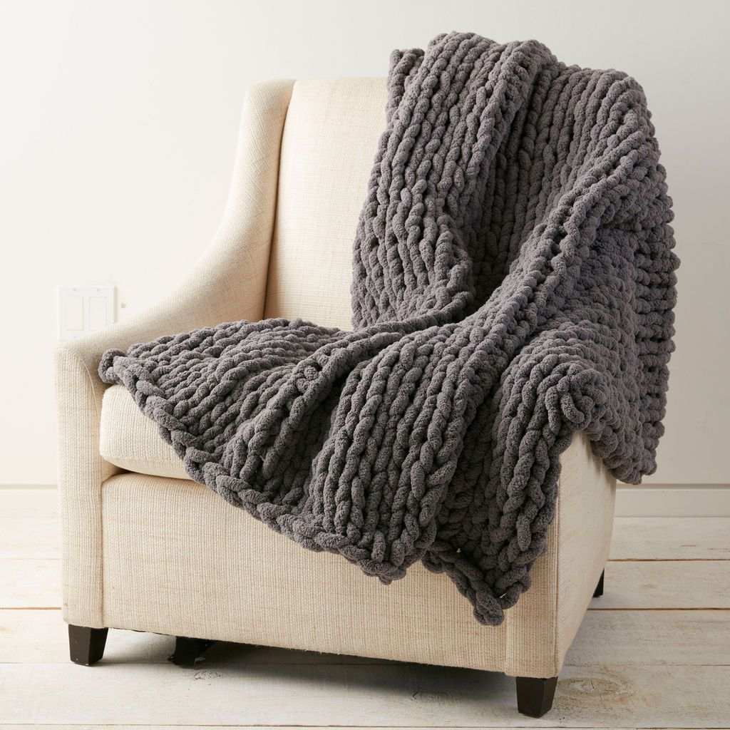 Large Knitting Blankets : Loops threads� jumbo wood knitting needles