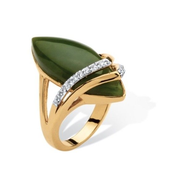 Marquise-Shaped Jade and Cubic Zirconia Cabochon Ring 18k Gold-Plated... (€4.500) ❤ liked on Polyvore