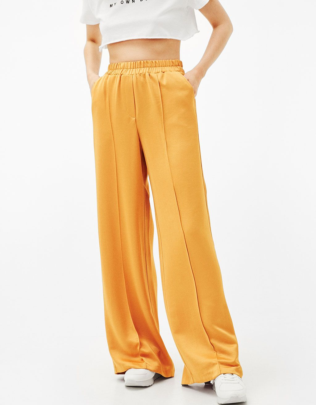 Pantalon large satin - Pantalons - Bershka France