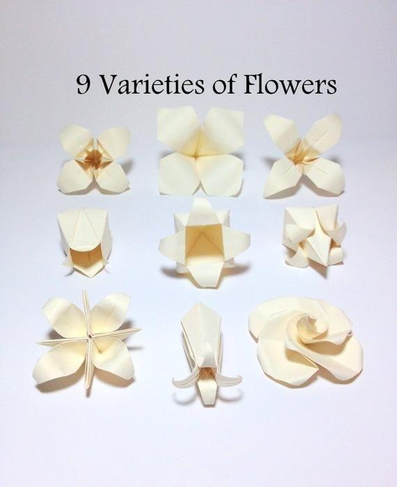 Photo of Origami Flowers, Flower Garland, Wedding Flowers,Photo Backdrop, Origami Cranes, Nursery Wall Decor,