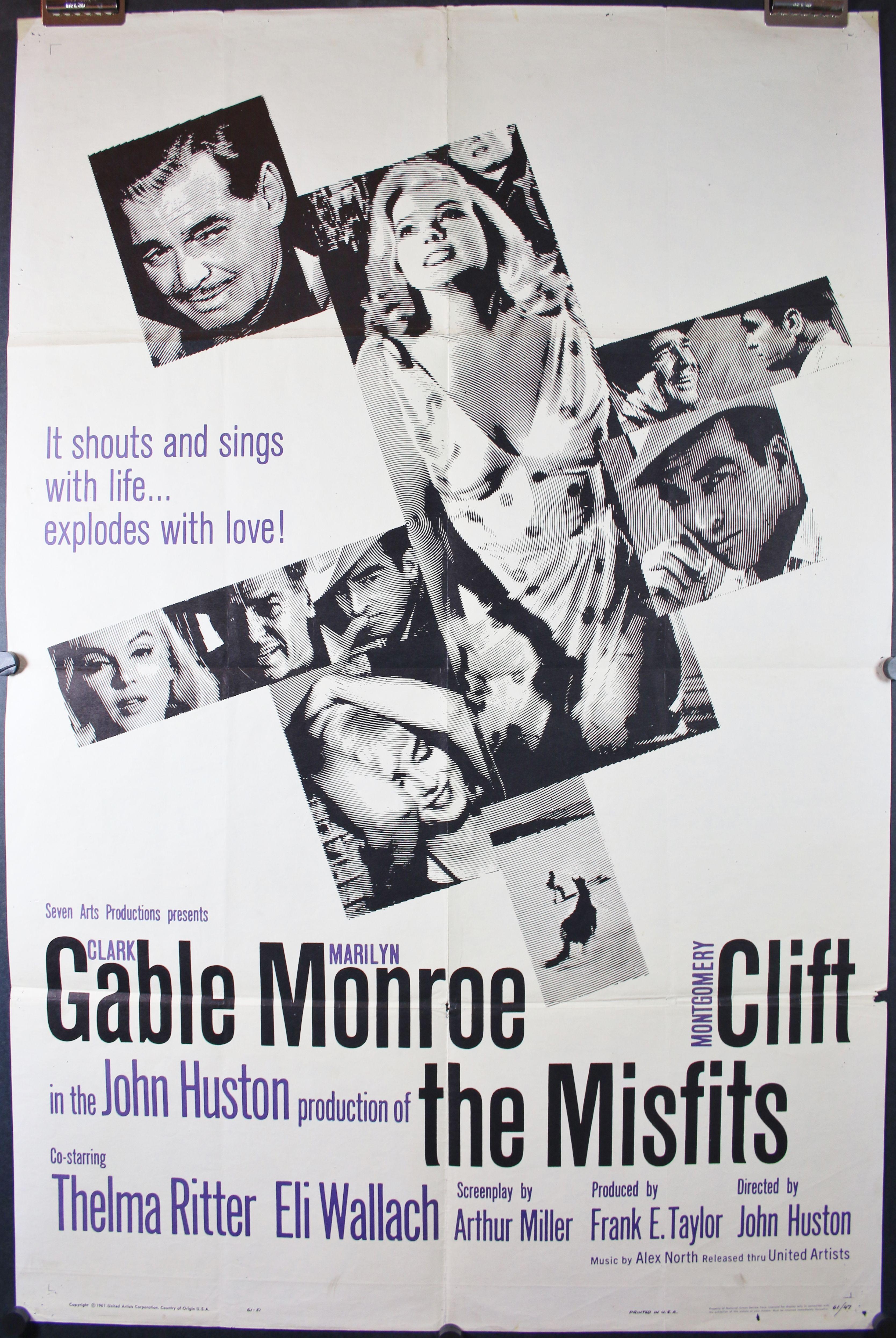 Misfits Original Marilyn Monroe Movie Poster Vieux Films Posters De Films Affiche Cinema