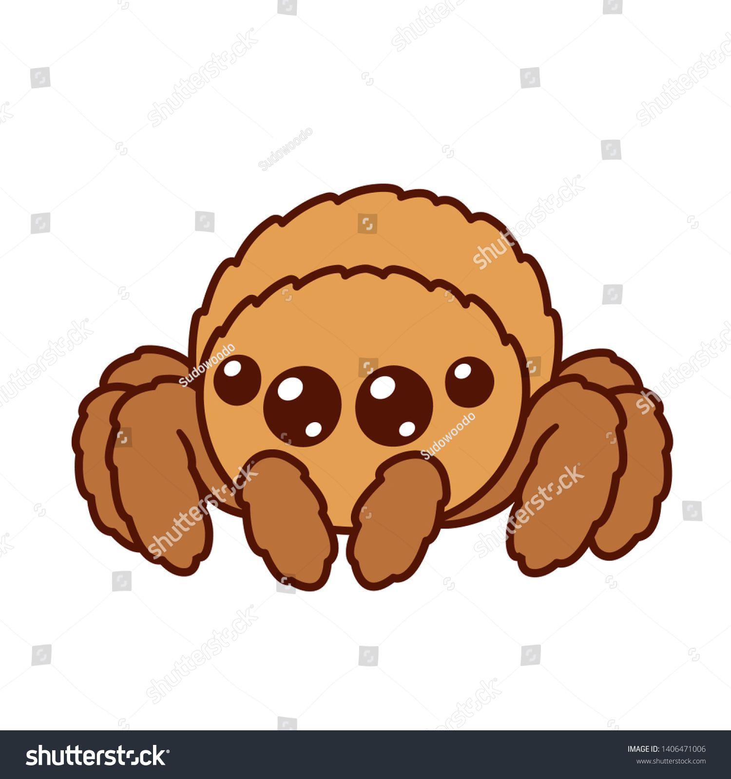 Cute Cartoon Fluffy Spider With Big Shiny Eyes Kawaii Spider Character Drawing Isolated Vector Illustration Ad Spider Drawing Kawaii Spider Spider Cartoon