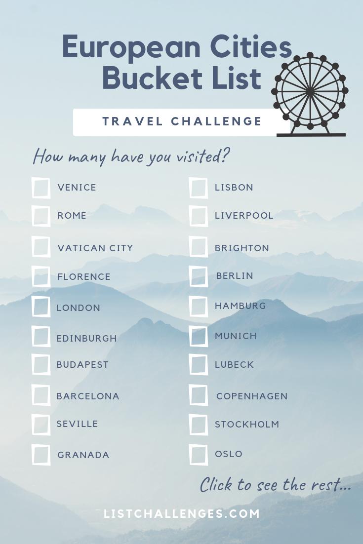 60 European Cities Bucket List