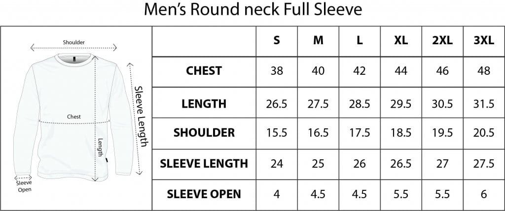 Sizechart For Qikink T Shirts And Other Arel S   Full sleeve ...