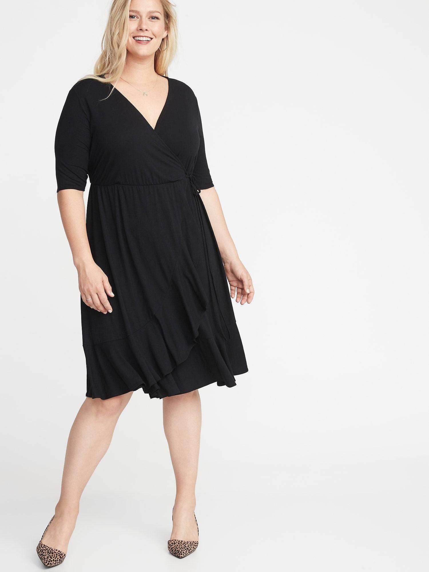 3e77cf912f0 Waist-Defined Faux-Wrap Jersey Plus-Size Dress in 2019
