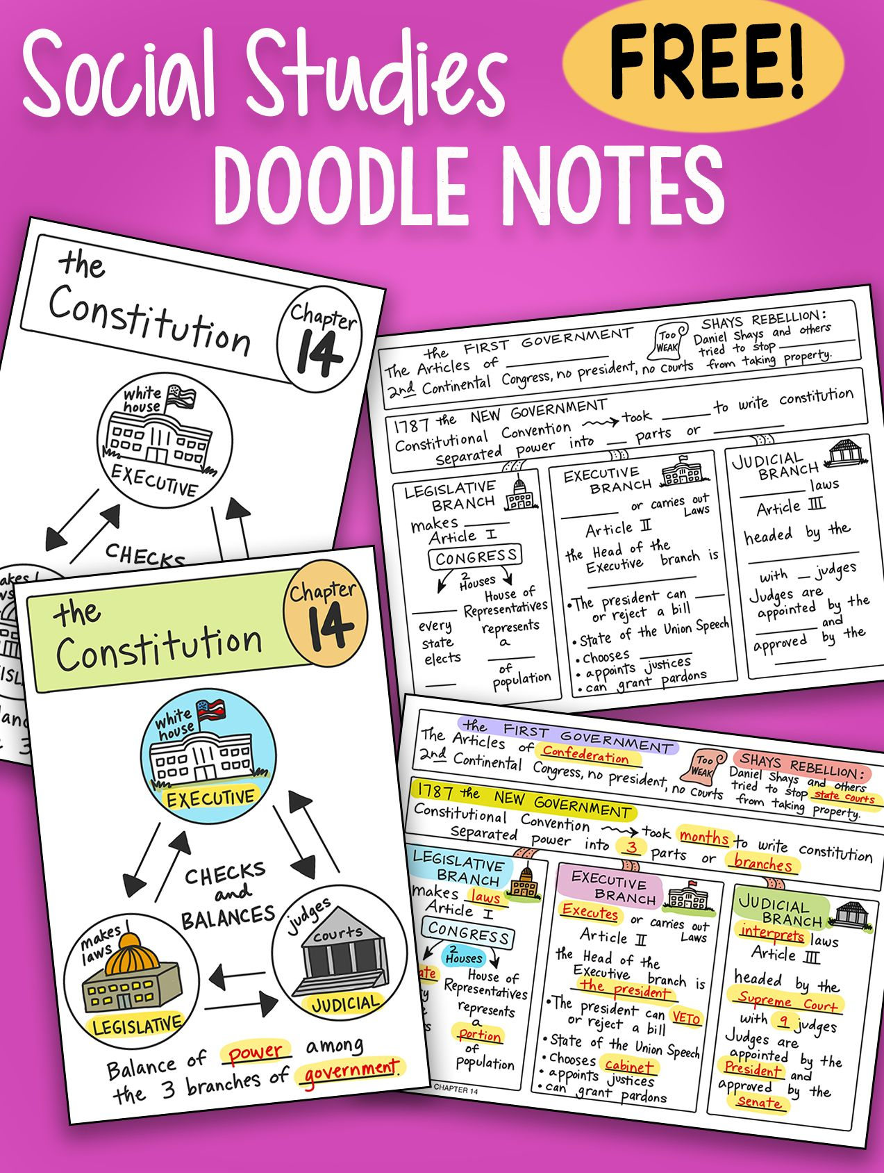 Free Doodle Notes All About The Constitution So Fun And Engaging Free Printable Plus Powerpoin Doodle Notes Social Studies Notebook Social Studies Projects