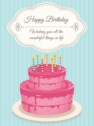 Lovely Pink Birthday Cake ECard
