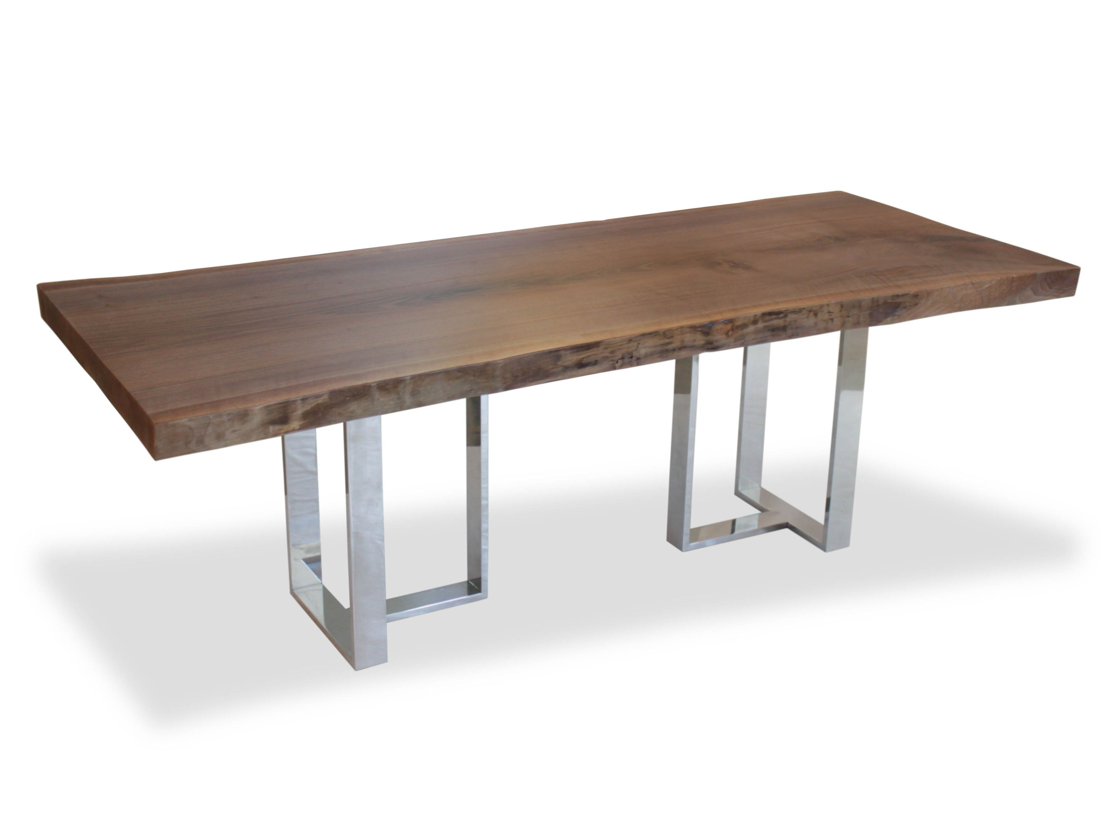 Single Slab Walnut Dining Table   Base In Polished Aluminum   Contemporary  Industrial Rustic / Folk Organic Dining Room Tables   Dering Hall