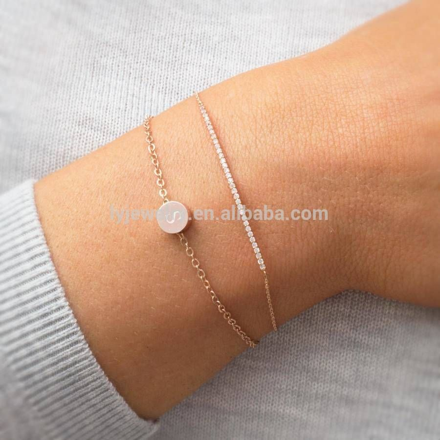 Nen Design Rose Gold Letter S Bracelet For Girl Bangle Simple