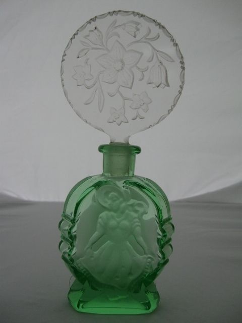 Vintage Crystal Czechoslovakian Green Perfume Bottle with Clear Cut Stopper | eBay