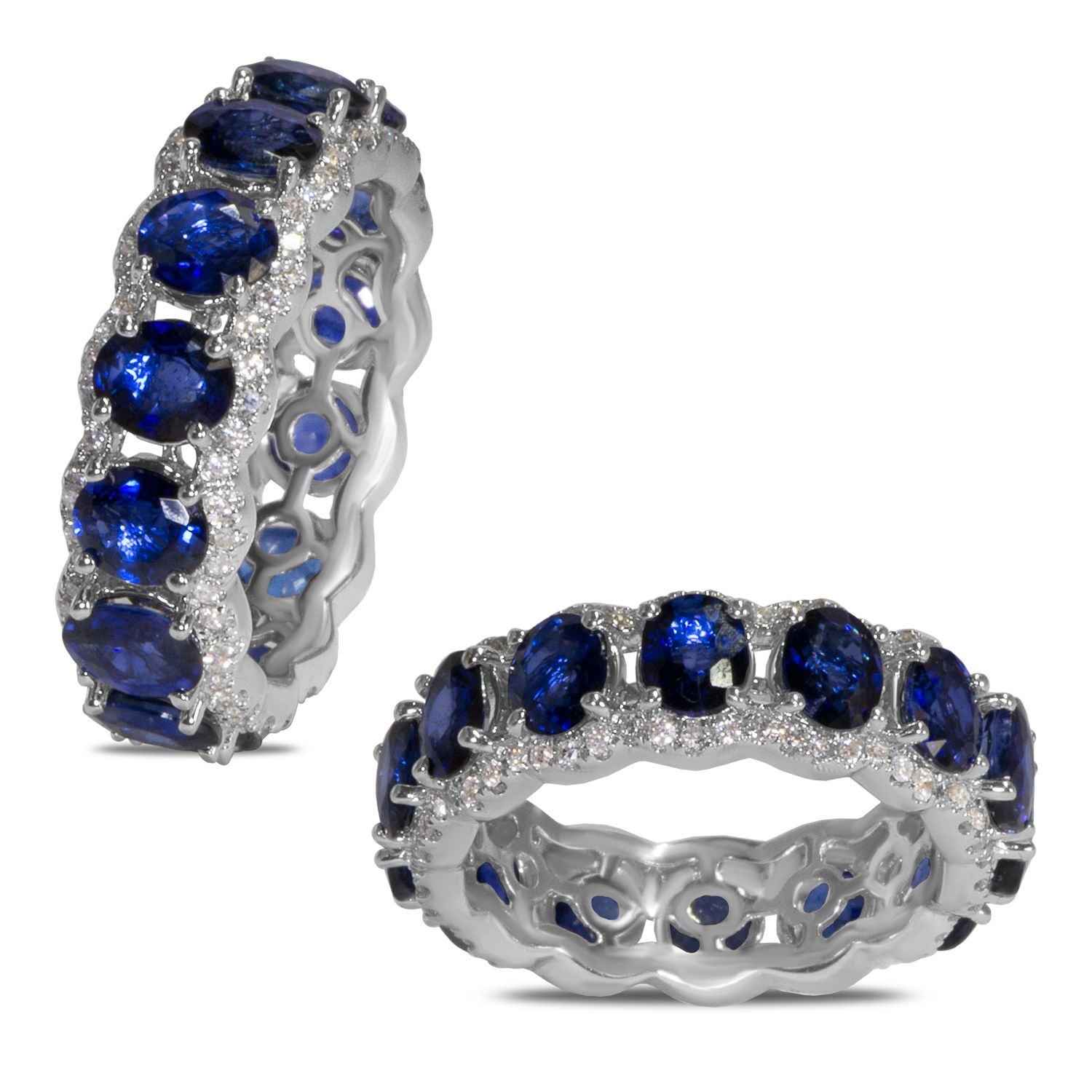 eternity ring sapphire bands diamond deco art platinum products band