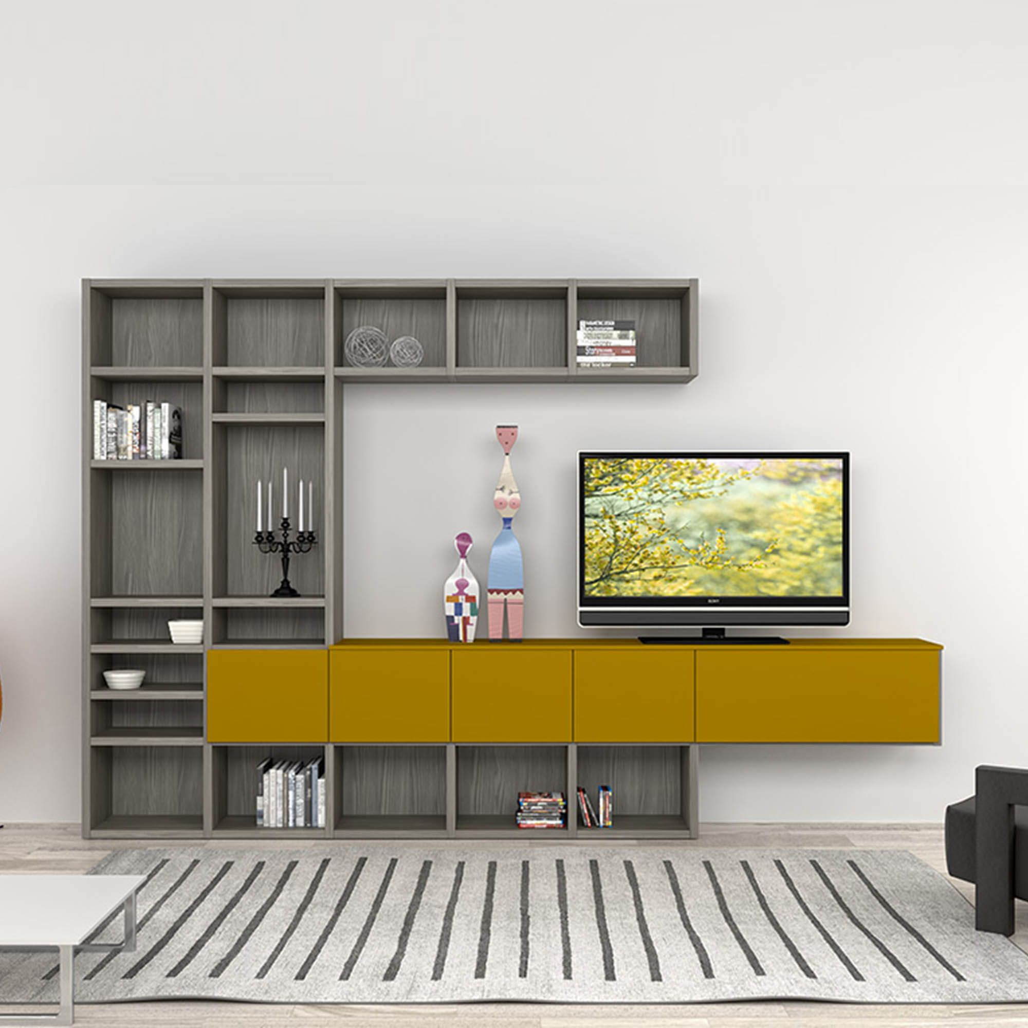 Modern Italian Tv Stand In Composition Of Grey And Mustard Colours Sen At My Italian Living Ltd Living Room Tv Wall Wall Tv Stand Trendy Living Rooms